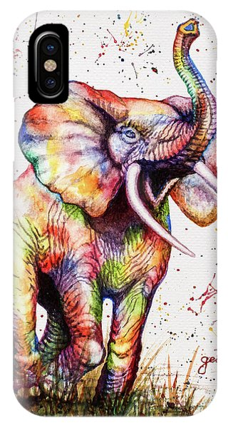 IPhone Case featuring the painting Colorful Watercolor Elephant by Georgeta Blanaru