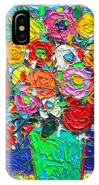 Colorful Wildflowers Abstract Modern Impressionist Palette Knife Oil Painting By Ana Maria Edulescu  IPhone Case