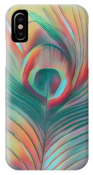 iPhone Case - Colors Of The Rainbow Peacock Feather by Debra and Dave Vanderlaan