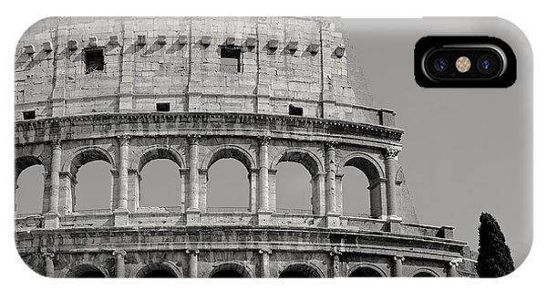 Ancient Rome iPhone Case - Colosseum Or Coliseum Black And White by Edward Fielding