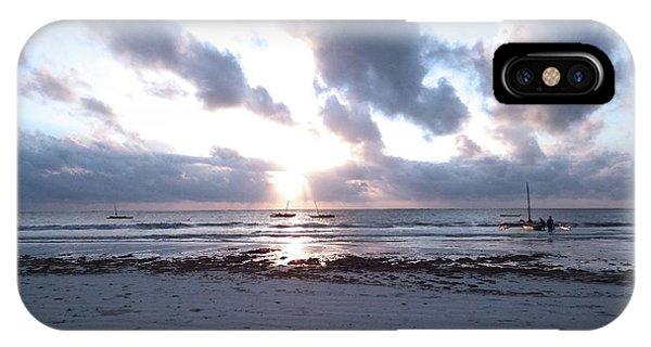 Exploramum iPhone Case - Coloured Sky - Sun Rays And Wooden Dhows by Exploramum Exploramum