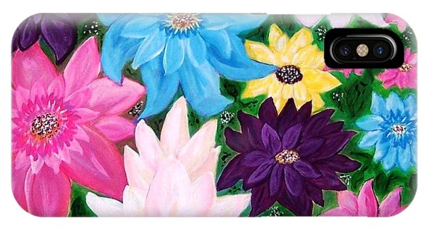 IPhone Case featuring the painting Colourful Flowers by Sonya Nancy Capling-Bacle