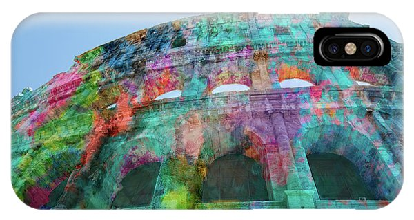 IPhone Case featuring the mixed media Colourful Grungy Colosseum In Rome by Clare Bambers