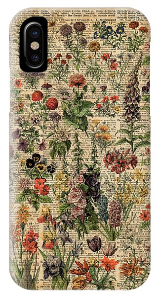 Poppies iPhone Case - Colourful Meadow Flowers Over Vintage Dictionary Book Page  by Anna W