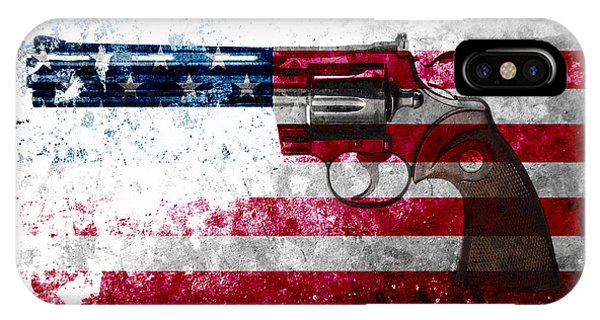 Colt Python 357 Mag On American Flag IPhone Case