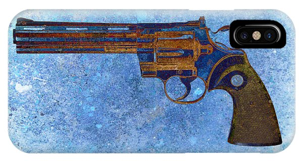 Colt Python 357 Mag On Blue Background. IPhone Case