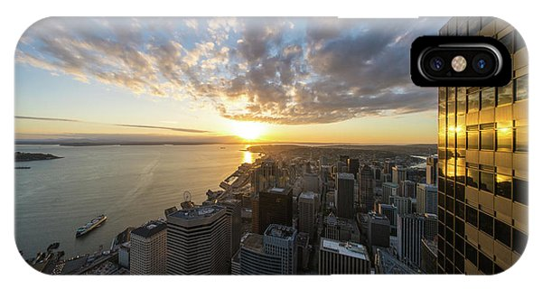 The Nature Center iPhone Case - Columbia Center Sunset Skies Above Seattle by Mike Reid