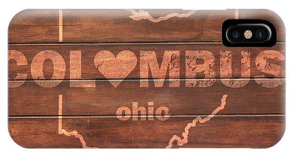 Columbus Heart Wording With Ohio State Outline Painted On Wood Planks IPhone Case