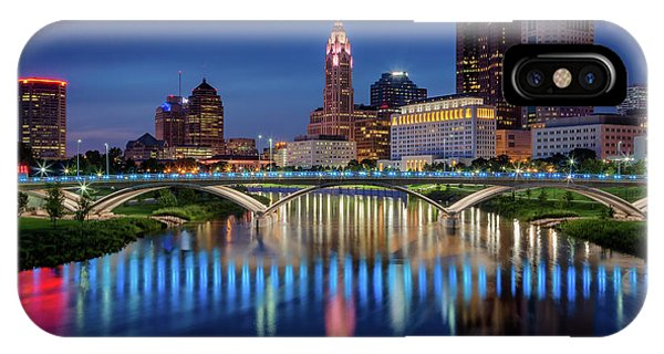 IPhone Case featuring the photograph Columbus Ohio Skyline At Night by Adam Romanowicz