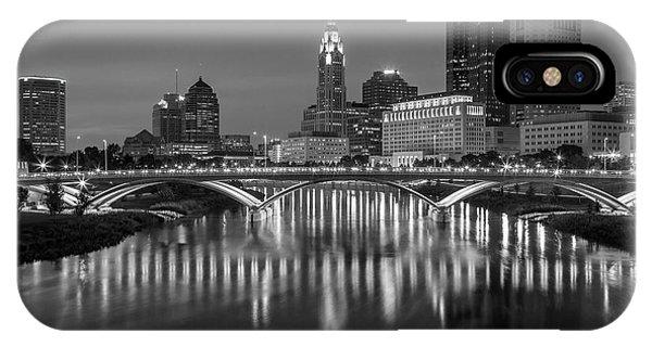 Columbus Ohio Skyline At Night Black And White IPhone Case