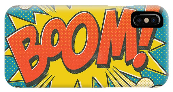 Modern iPhone Case - Comic Boom On Blue by Mitch Frey