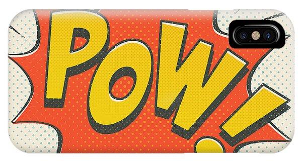 Superhero iPhone Case - Comic Pow On Off White by Mitch Frey
