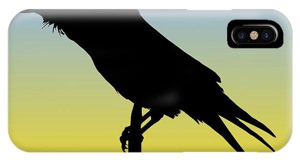 Common Raven Silhouette At Sunrise IPhone Case