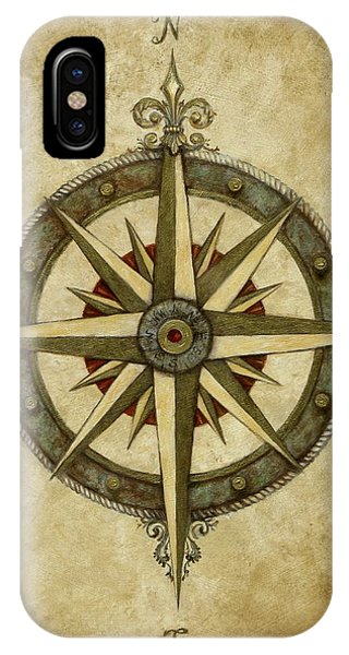 Rose iPhone X / XS Case - Compass Rose by Judy Merrell