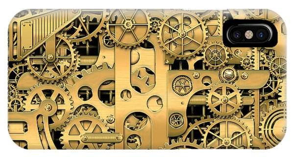 Pop Art iPhone Case - Complexity And Complications - Clockwork Gold by Serge Averbukh