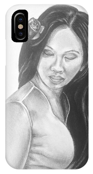 Long Hair Asian Lady With Rose In Sorrow Charcoal Drawing  IPhone Case