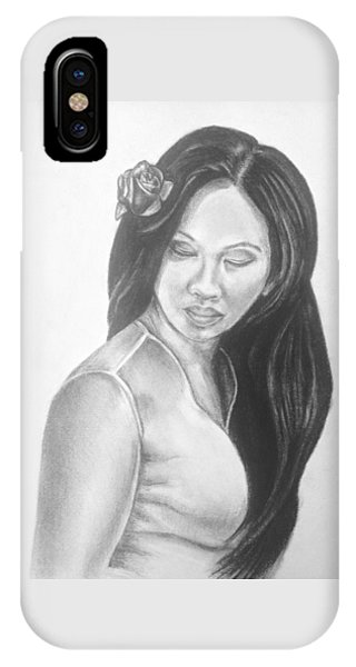 Female In Sorrow Charcoal Drawing  IPhone Case