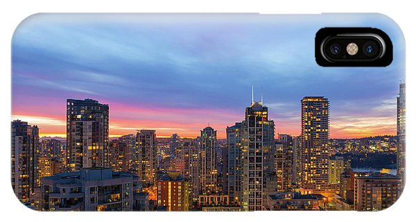 Condominium Buildings In Downtown Vancouver Bc At Sunrise IPhone Case