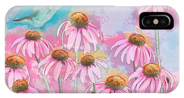Coneflower Hummingbird Watercolor IPhone Case