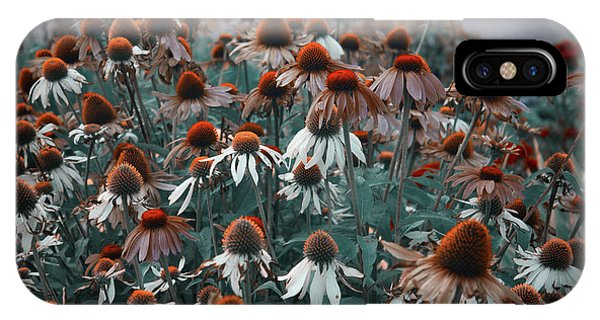 Coneflowers Bits Of Torquise IPhone Case