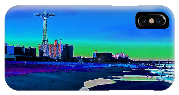 Coney Island Parachute Jump And Beach IPhone Case