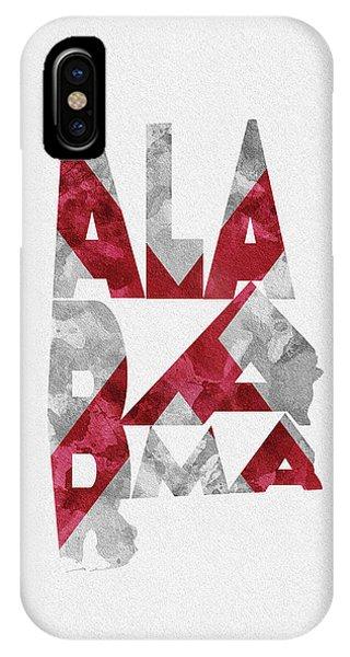 Alabama iPhone Case - Alabama Typographic Map Flag by Inspirowl Design
