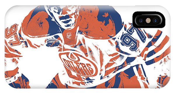Winter iPhone Case - Connor Mcdavid Edmonton Oilers Pixel Art 1 by Joe Hamilton