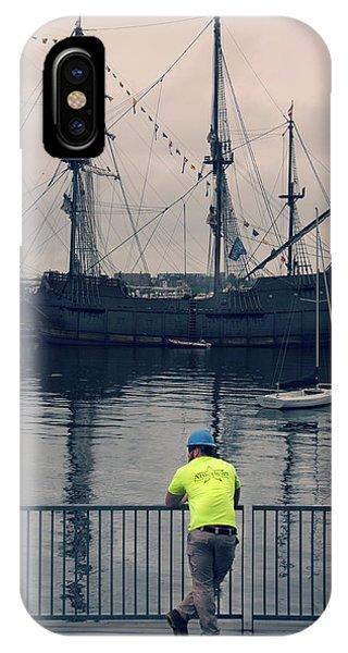 Construction Break On Boston Harbor IPhone Case