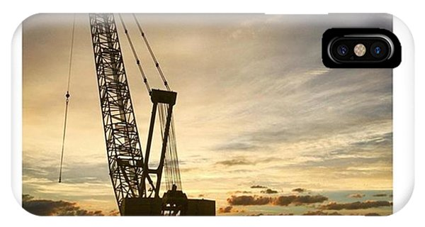 Professional iPhone Case - Construction Crane At Sunrise by Juan Silva