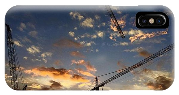 Professional iPhone Case - Construction Cranes At Sunset by Juan Silva