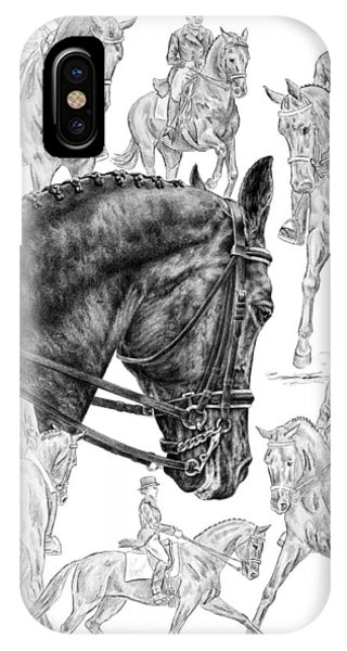 Contemplating Collection - Dressage Horse Drawing IPhone Case
