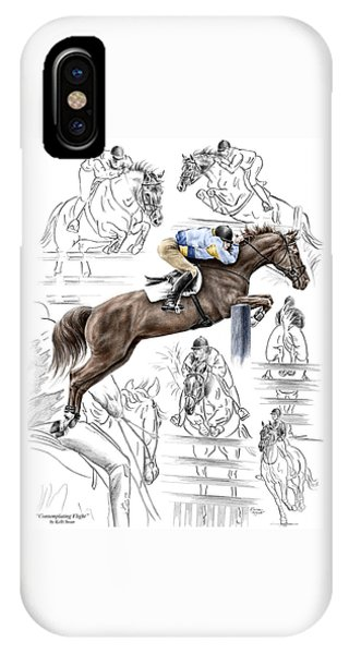 Contemplating Flight - Horse Jumper Print Color Tinted IPhone Case