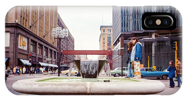 IPhone Case featuring the photograph Contemplating The Fountain At 8th And Nicollet. by Mike Evangelist