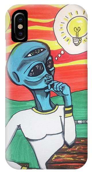 Contemplative Alien IPhone Case