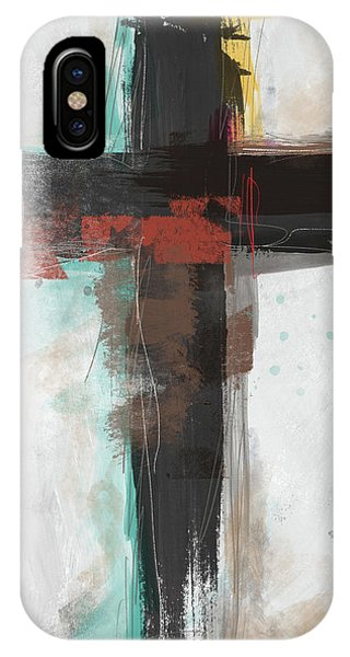 Cross iPhone X Case - Contemporary Cross 1- Art By Linda Woods by Linda Woods