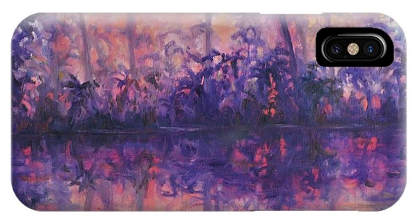 Contemporary Nature Painting Tropical Lake Sunset IPhone Case