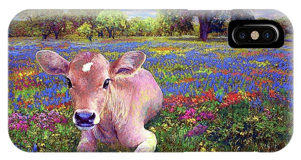 Oklahoma iPhone Case - Contented Cow In Colorful Meadow by Jane Small