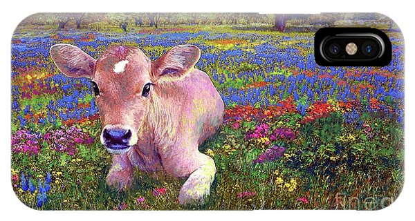 Colourful iPhone Case - Contented Cow In Colorful Meadow by Jane Small