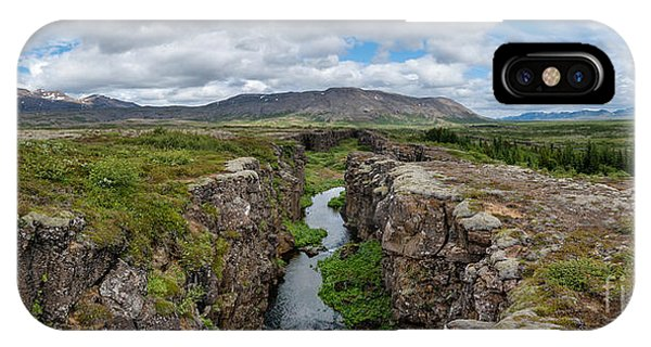 Split Rock iPhone Case - Continental Divide Panorama In Iceland by Michael Ver Sprill
