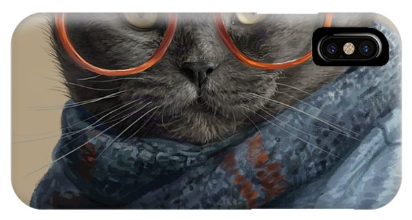 Gray iPhone Case - Cool Cat by Lucie Bilodeau