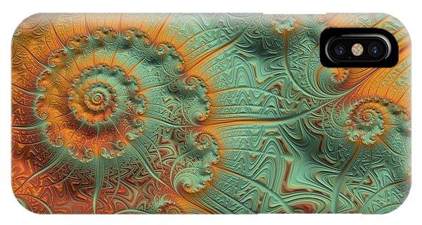 Julia Fractal iPhone X Case - Copper Verdigris by Susan Maxwell Schmidt