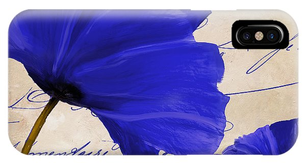 Red Flower iPhone Case - Coquelicots Bleue II by Mindy Sommers