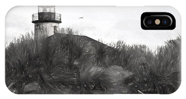 Coquille River Lighthouse Oregon Black And White Giclee Art Print IPhone Case