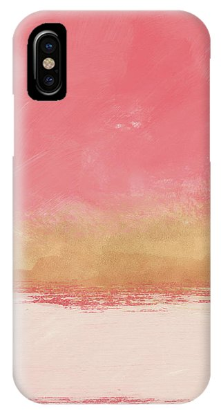 Pink iPhone Case - Coral And Gold Abstract 1- Art By Linda Woods by Linda Woods