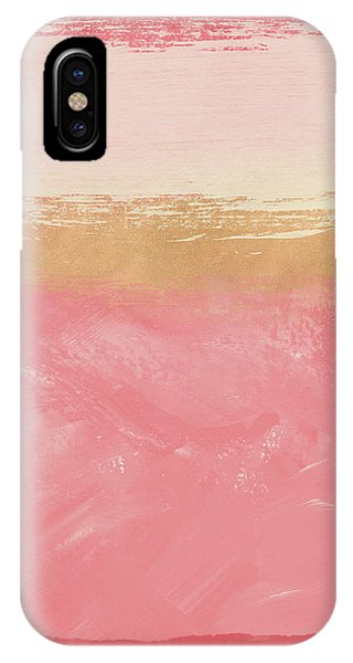 Pink iPhone Case - Coral And Gold Abstract 2- Art By Linda Woods by Linda Woods