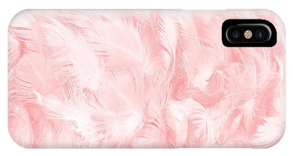 Teal Swan iPhone Case - Coral Pink Vintage Color Trends Feather Texture Background  by Nattaya Mahaum