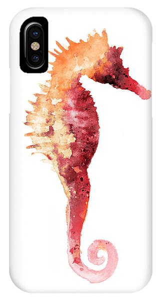Seahorse iPhone Case - Coral Seahorse Watercolor Painting by Joanna Szmerdt