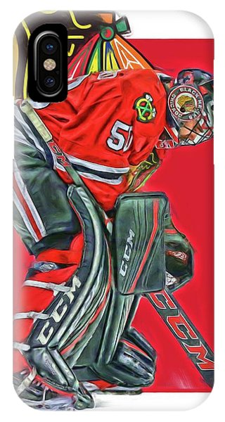 Winter iPhone Case - Corey Crawford Chicago Blackhawks Oil Art by Joe Hamilton