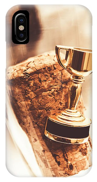 Achievement iPhone Case - Cork And Trophy Floating In Champagne Flute by Jorgo Photography - Wall Art Gallery