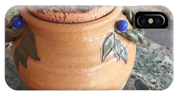 Hand Thrown Pottery iPhone Case - Corked Jug With Twisted Vine Handles by Teresa Ascone